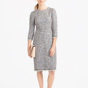 J. Crew Petite 3/4 Sleeve Multicolored Tweed Dress
